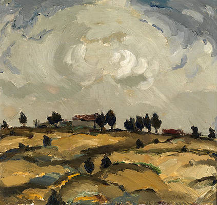 Autumn landscape with clouds Print by Ilmari Aalto