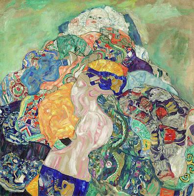 Baby. Cradle Print by Gustav Klimt