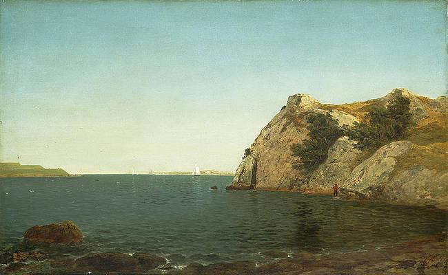 Beacon Rock. Newport Harbor Print by John Frederick Kensett