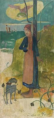 Breton girl spinning Print by Paul Gauguin