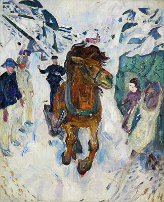 Galloping Horse Print by Edvard Munch