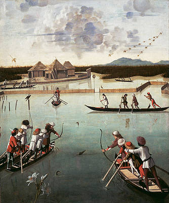 Hunting on the Lagoon Print by Vittore Carpaccio