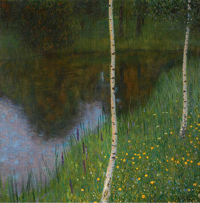 Lakeshore with Birches Print by Gustav Klimt