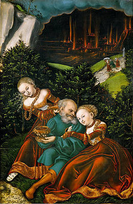 Lot and his Daughters Print by Lucas Cranach the Elder