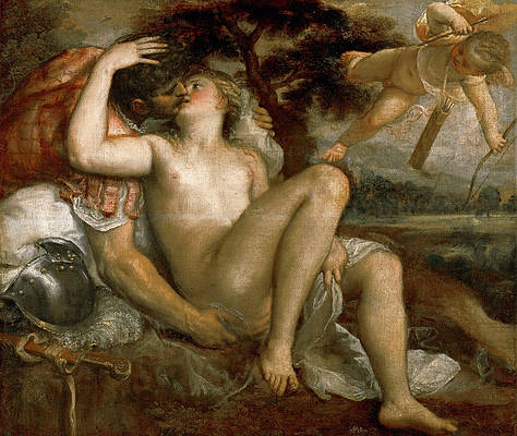 Mars Venus and Amor Print by Titian