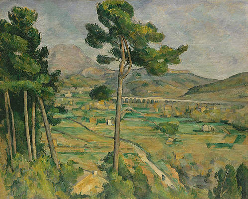 Mont Sainte-Victoire and the Viaduct of the Arc River Valley Print by Paul Cezanne