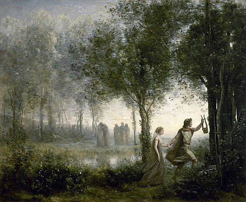 Orpheus Leading Eurydice from the Underworld Print by Jean-Baptiste-Camille Corot