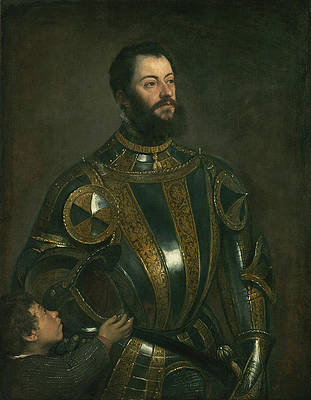 Portrait of Alfonso d'Avalos Marquis of Vasto in Armor with a Page Print by Titian