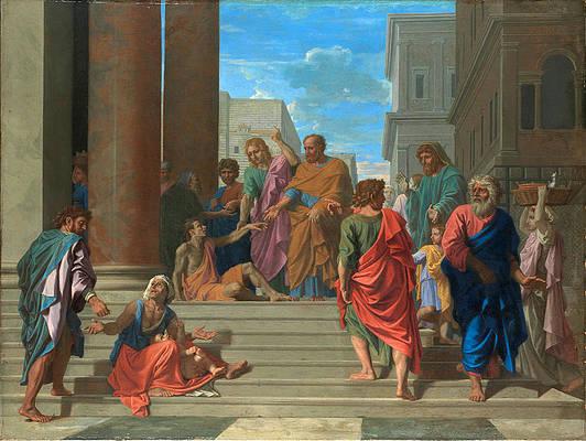 Saints Peter and John Healing the Lame Man Print by Nicolas Poussin