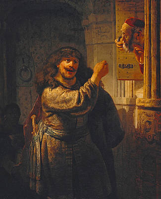 Samson Threatening His Father-in-Law Print by Rembrandt