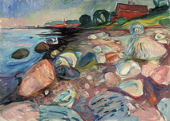 Shore with Red House Print by Edvard Munch