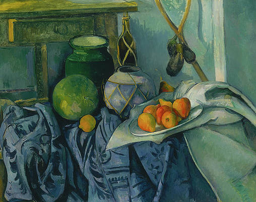 Still Life with a Ginger Jar and Eggplants Print by Paul Cezanne