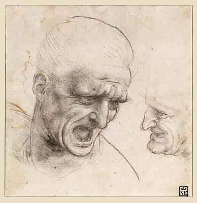 Study of Two Warriors' Heads for the Battle of Anghiari Print by Leonardo Da Vinci