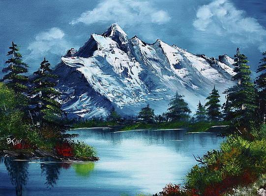 mountain artwork landscape drawing moutain decor lake artwork Mountain lake wall art lake decor