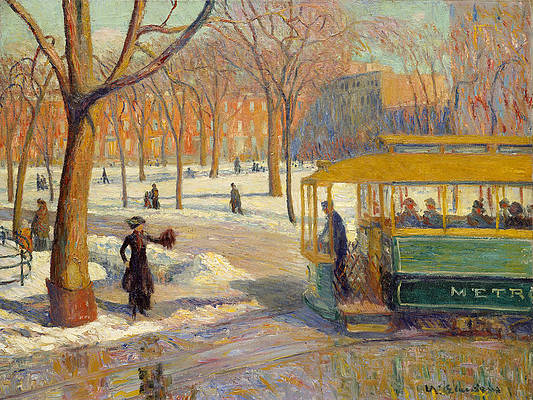 The Green Car Print by William Glackens