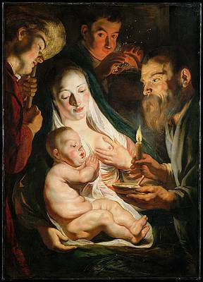 The Holy Family with Shepherds Print by Jacob Jordaens