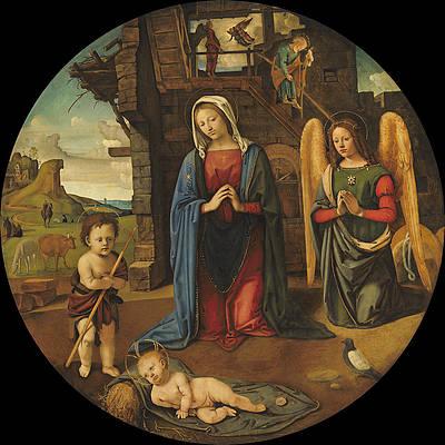 The Nativity with the Infant Saint John Print by Piero di Cosimo