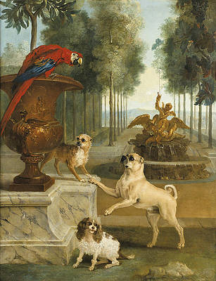 Three Dogs and a Macaw in a Park Print by Jean-Baptiste Oudry