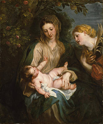 Virgin and Child with Saint Catherine of Alexandria Print by Anthony van Dyck
