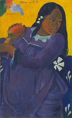 Woman with Mango Print by Paul Gauguin
