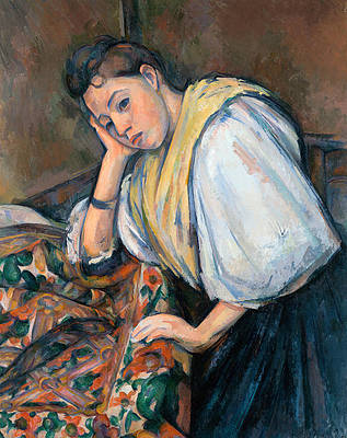 Young Italian Woman at a Table Print by Paul Cezanne