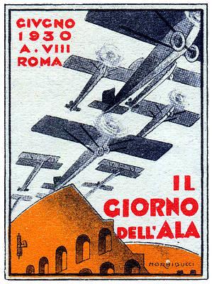 Vintage Art Deco 1930s Italian Aviation Poster /'Giorno dell/'Ala/'  Littorio Rome