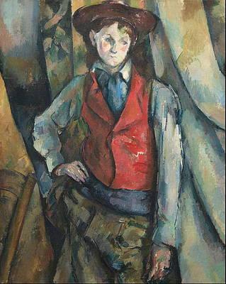 Boy in a Red Waistcoat Print by Paul Cezanne