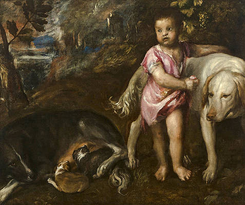 Boy with Dogs in a Landscape Print by Titian