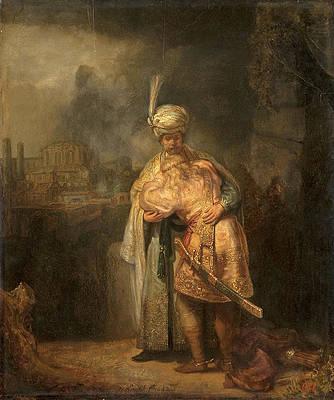 David and Jonathan Print by Rembrandt