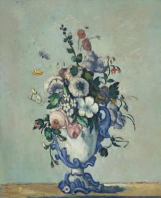 Flowers in a Rococo Vase Print by Paul Cezanne
