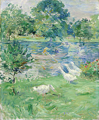 Girl in a Boat with Geese Print by Berthe Morisot