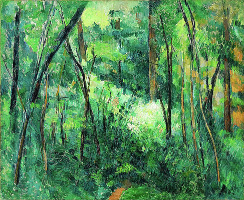 Interior of a forest Print by Paul Cezanne