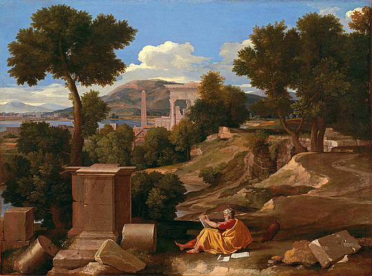 Landscape with Saint John on Patmos Print by Nicolas Poussin