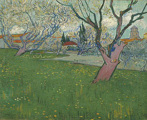 Orchards in blossom view of Arles Print by Vincent van Gogh