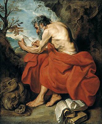 Saint Jerome Print by Anthony van Dyck