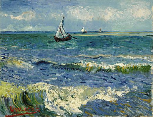 Seascape near Les Saintes-Maries-de-la-Mer Print by Vincent van Gogh