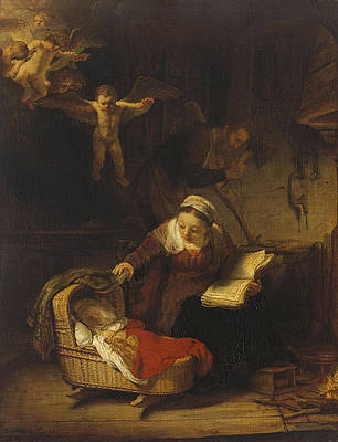 The Holy Family with Angels Print by Rembrandt