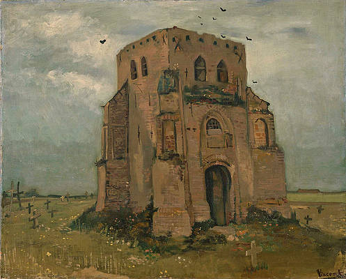 The old church tower at Nuenen Print by Vincent van Gogh