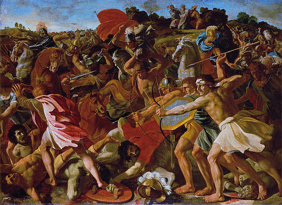 The Victory of Joshua over the Amalekites Print by Nicolas Poussin
