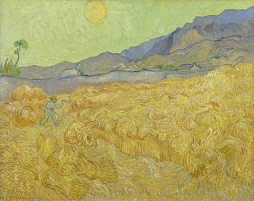 Wheatfield with a reaper Print by Vincent van Gogh
