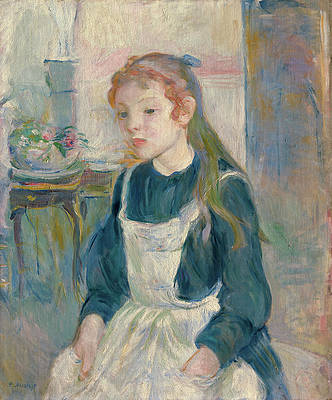 Young Girl with an Apron Print by Berthe Morisot