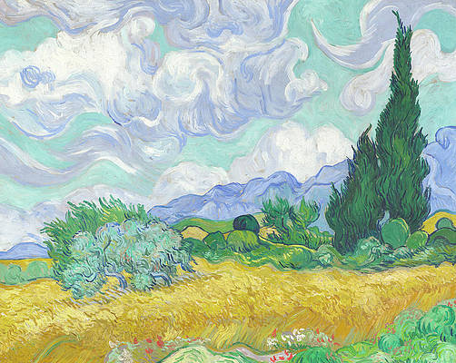 A Wheatfield with Cypresses Print by Vincent van Gogh