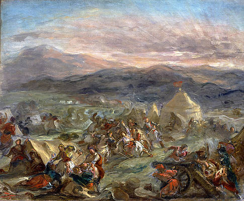 Markos Botsaris Surprises the Turkish Camp and Falls Fatally Wounded Print by Eugene Delacroix