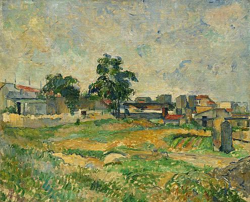 Landscape near Paris Print by Paul Cezanne