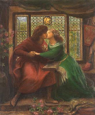 Реалистичный рисунок цветов - Паоло и Франческа да Римини работы Данте Габриэля Россетти