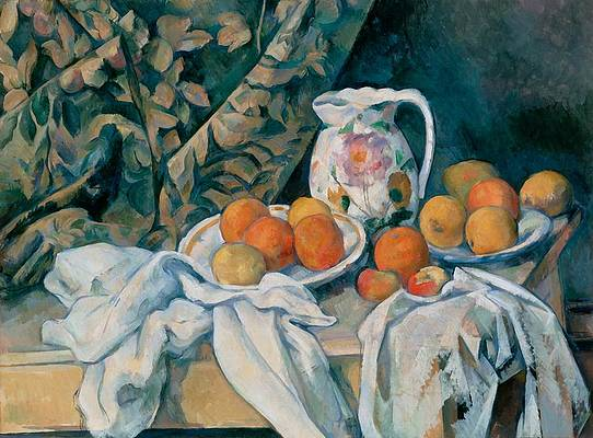 Still Life with a Curtain Print by Paul Cezanne