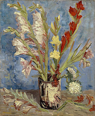 Vase with gladioli and China asters Print by Vincent van Gogh