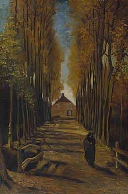 Avenue of poplars in autumn Print by Vincent van Gogh