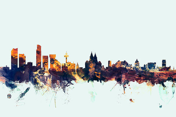 Liverpool City Skyline Art Print Wall Poster Contemporary Decor