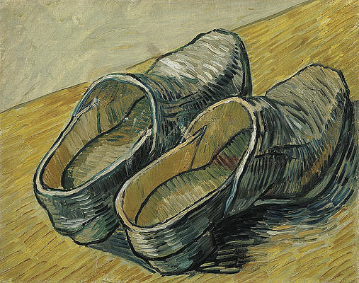 A pair of leather clogs Print by Vincent van Gogh